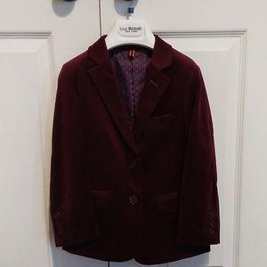 Boy burgundy velvet blazer